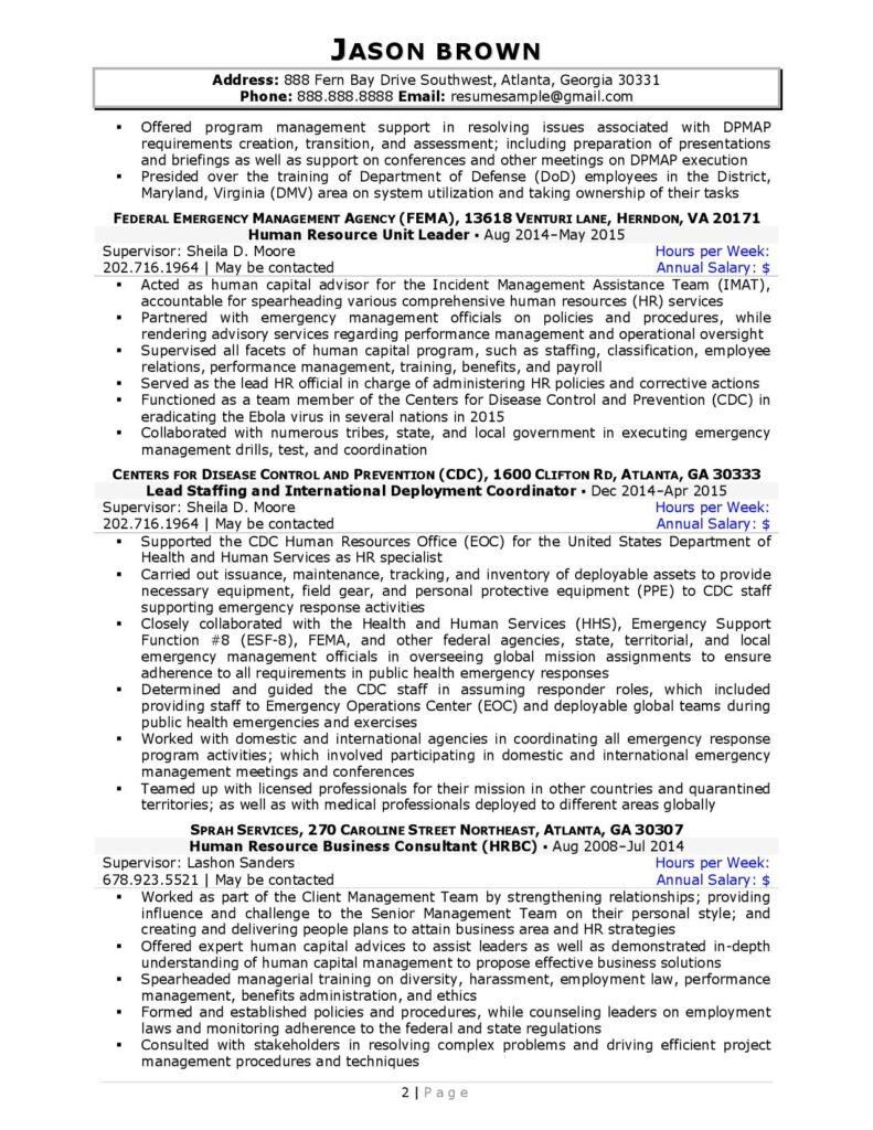 Federal Resume Sample For Human Resources Page 2