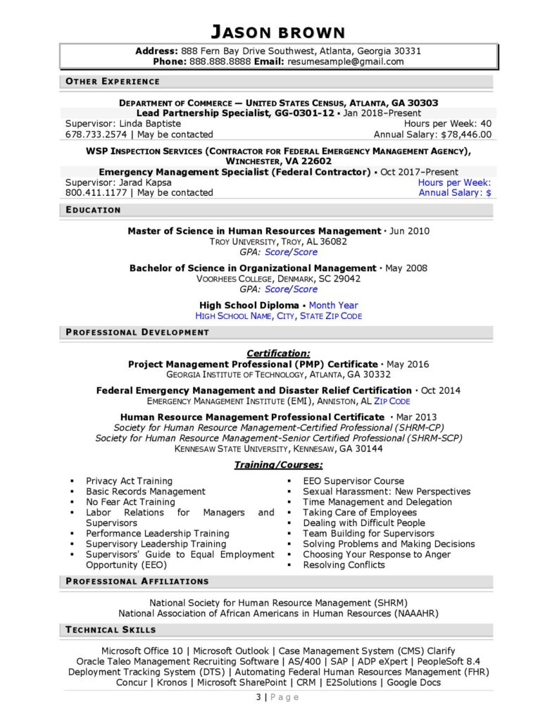 Federal Resume Sample For Human Resources Page 3