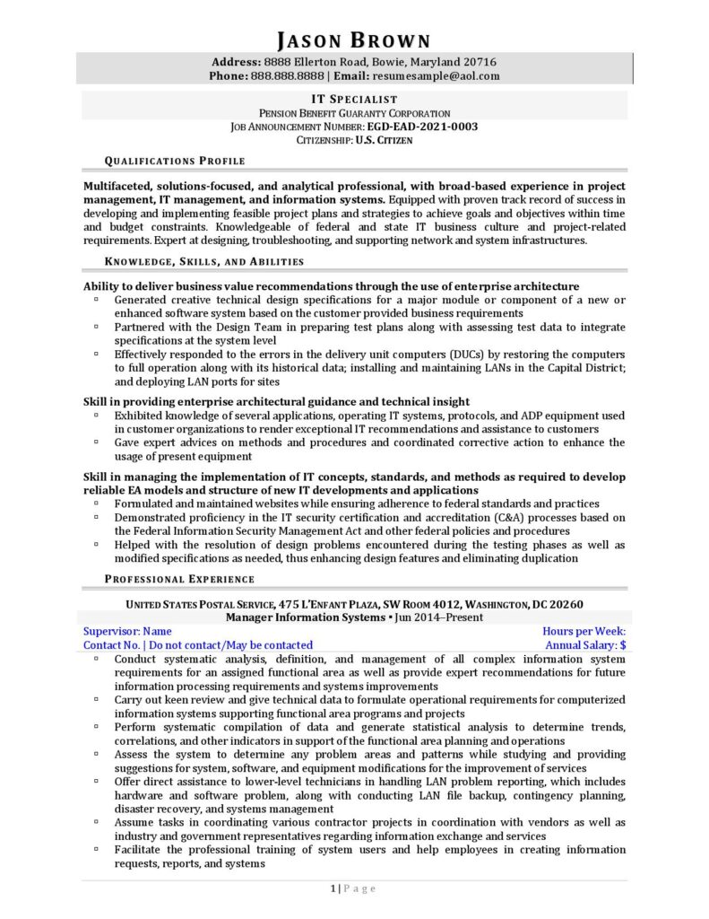 Federal Resume Sample For Information Technology Page 1