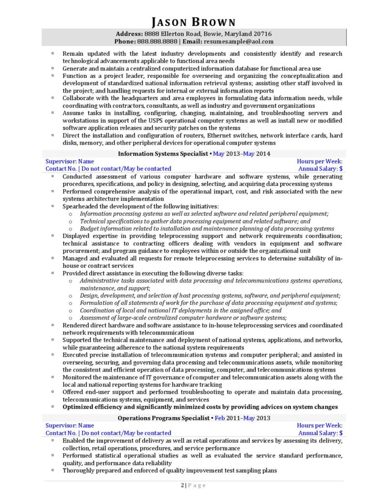 Federal Resume Sample For Information Technology Page 2