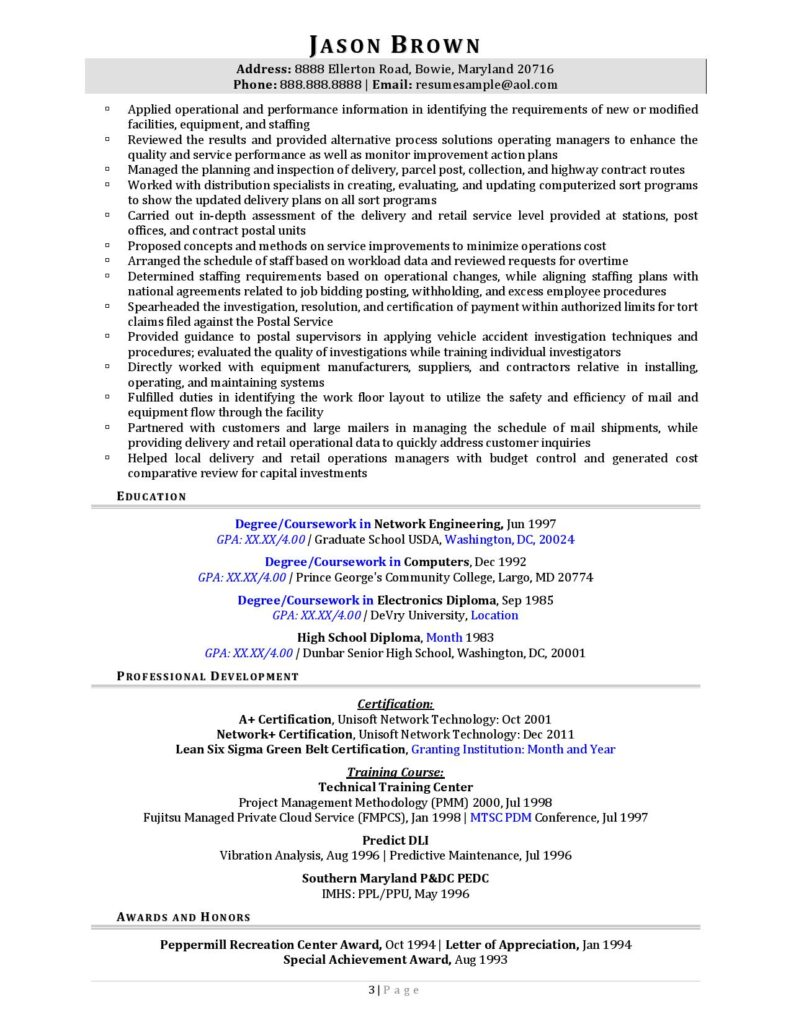 Federal Resume Sample For Information Technology Page 3