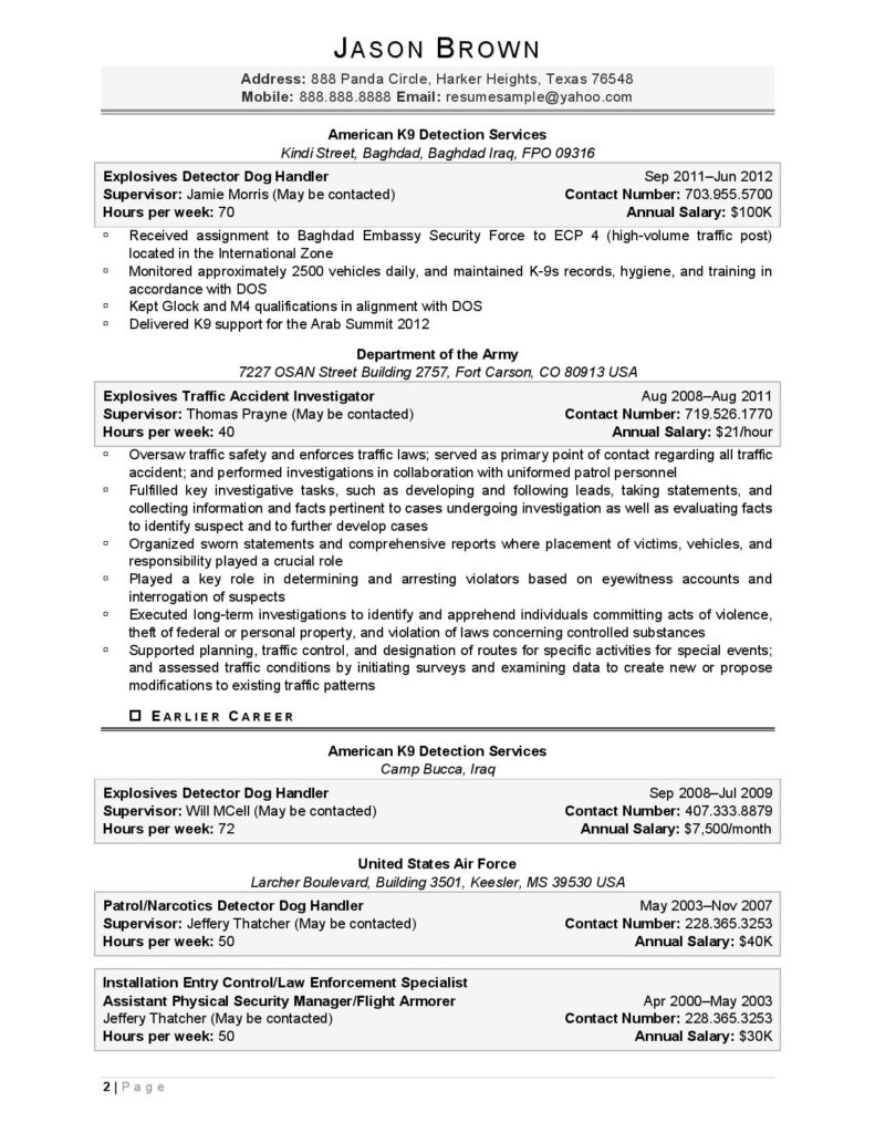 Federal Resume Sample For Military Page 2