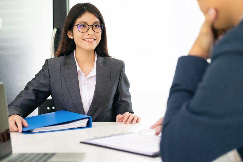 Confident Job Seeker In A Job Interview