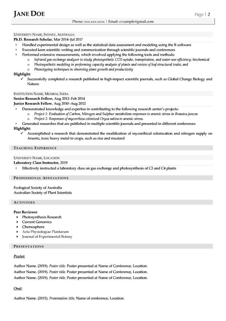Cv Example: Field-Specific Cv #1 Page 2