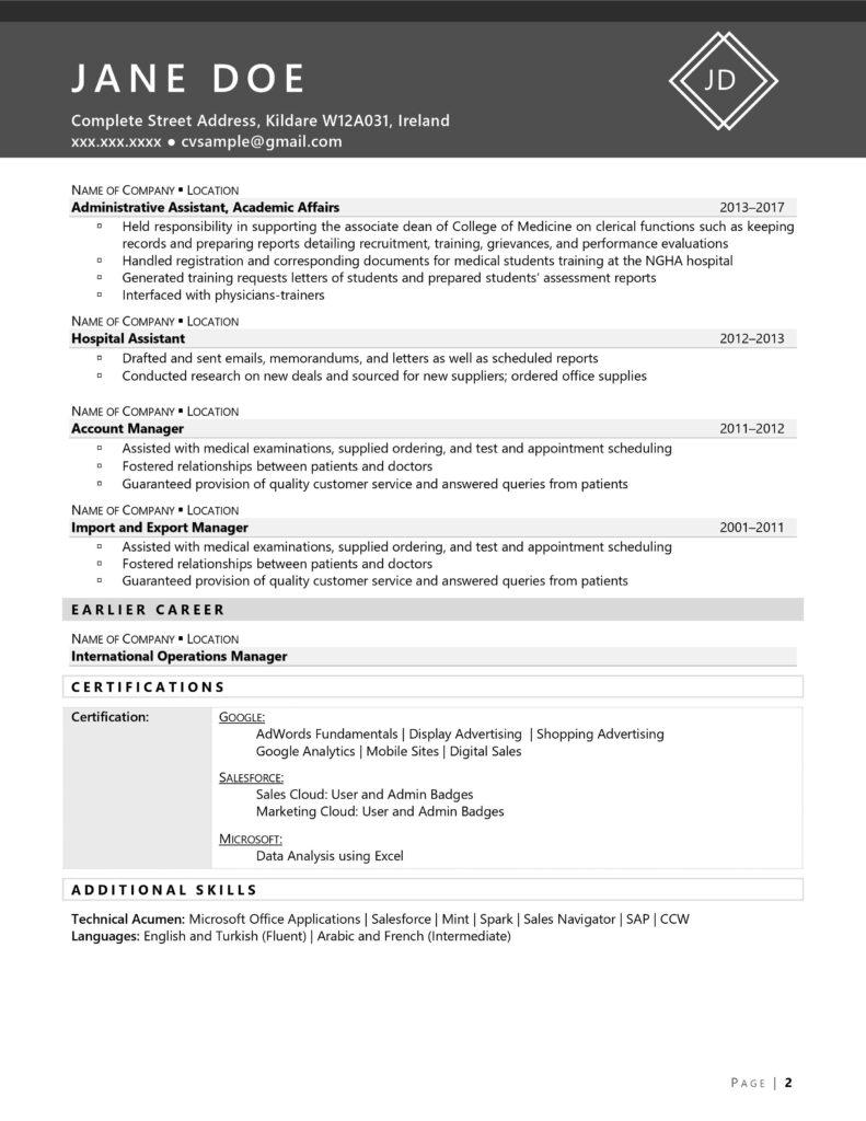 Cv Example: Market-Specific Cv #1 Page 2