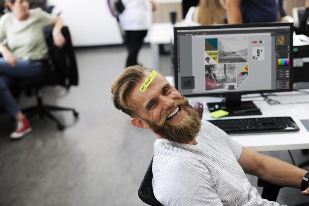 happy man free from job stress