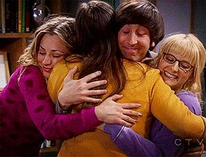 friends doing a group hug