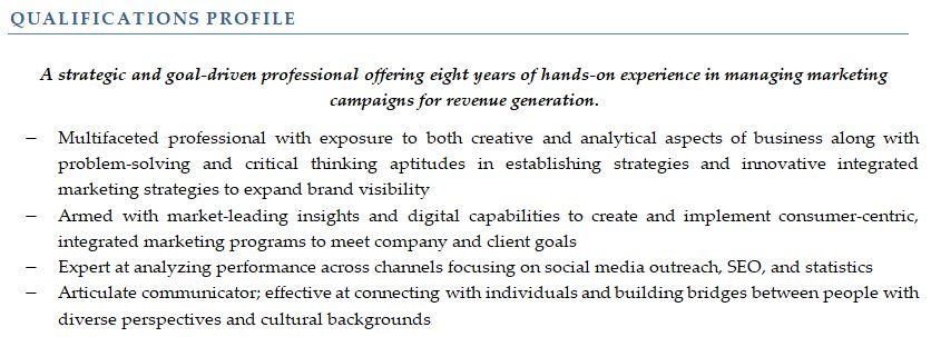 resume summary sample