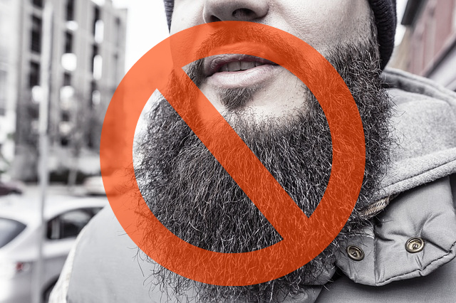 Beards and stubble are not allowed as part of the weird company rules