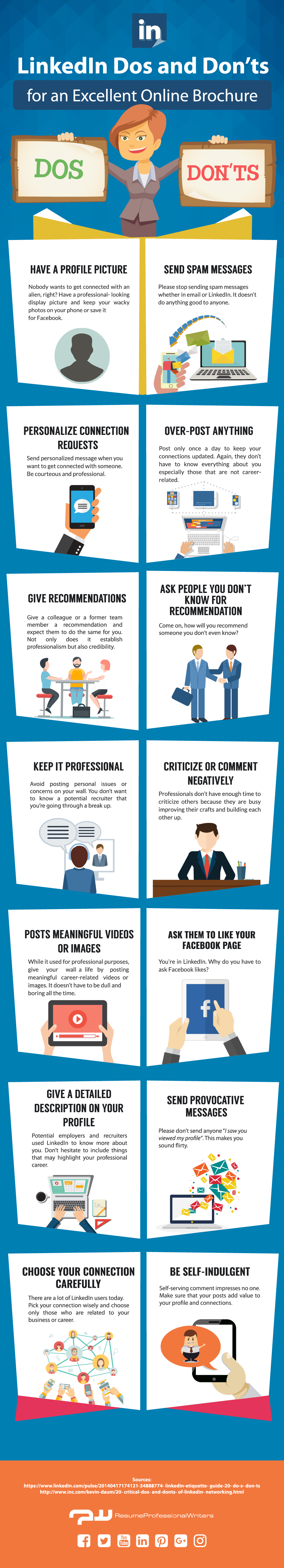 LinkedIn dos and don'ts - infographic