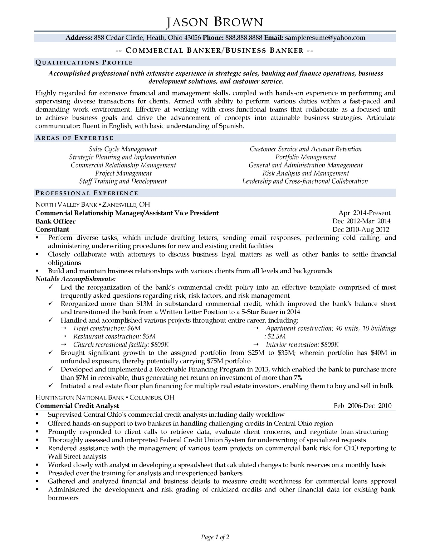 Business banker resume sample with light color accents page 1