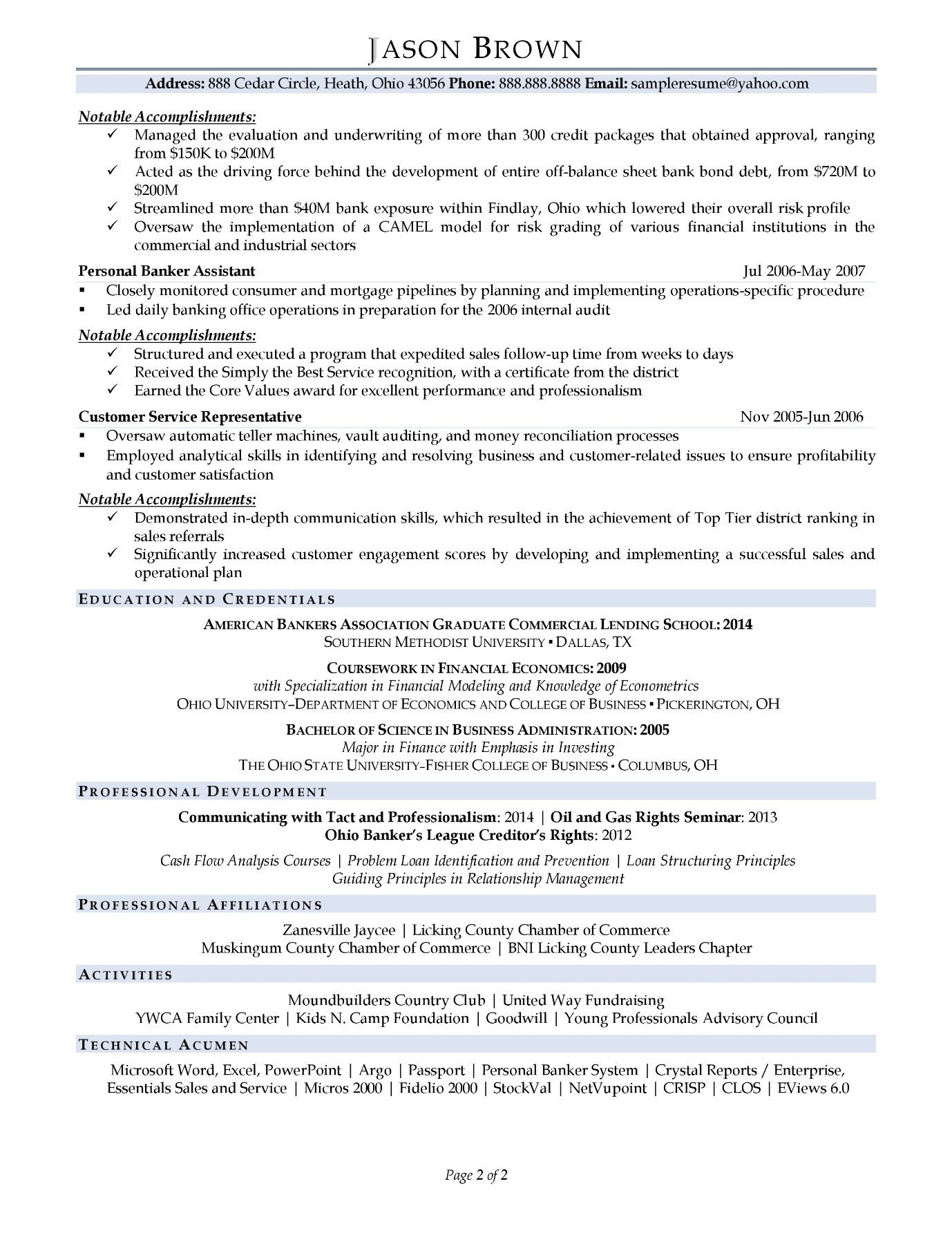 Business banker resume sample with light color accents page 2