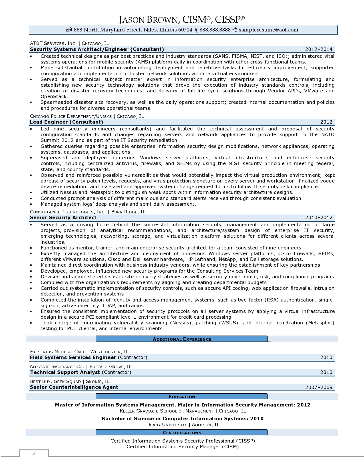Director of Information Security Resume Examples page 2