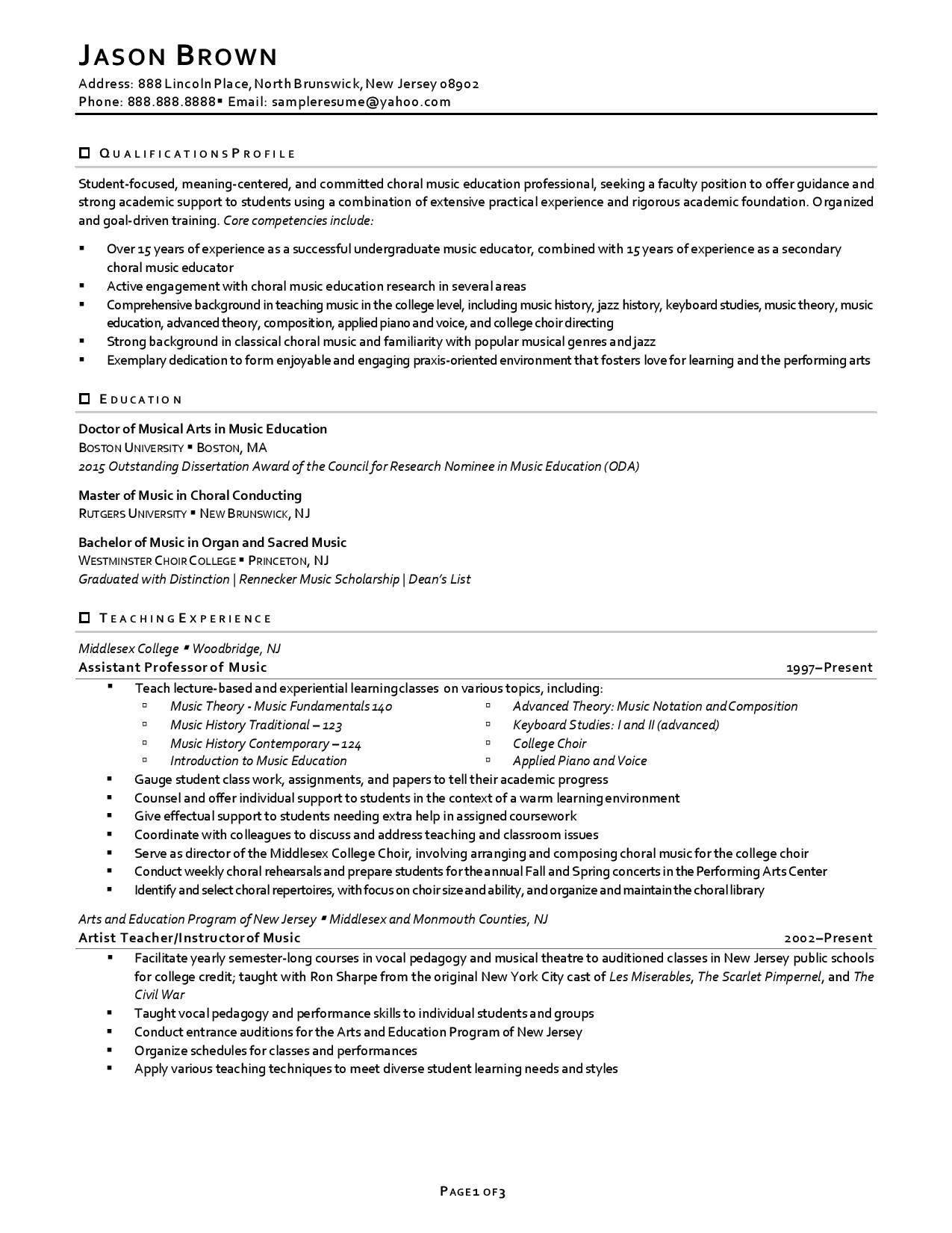 one of faculty resume examples showing professional experience with light accents page 1