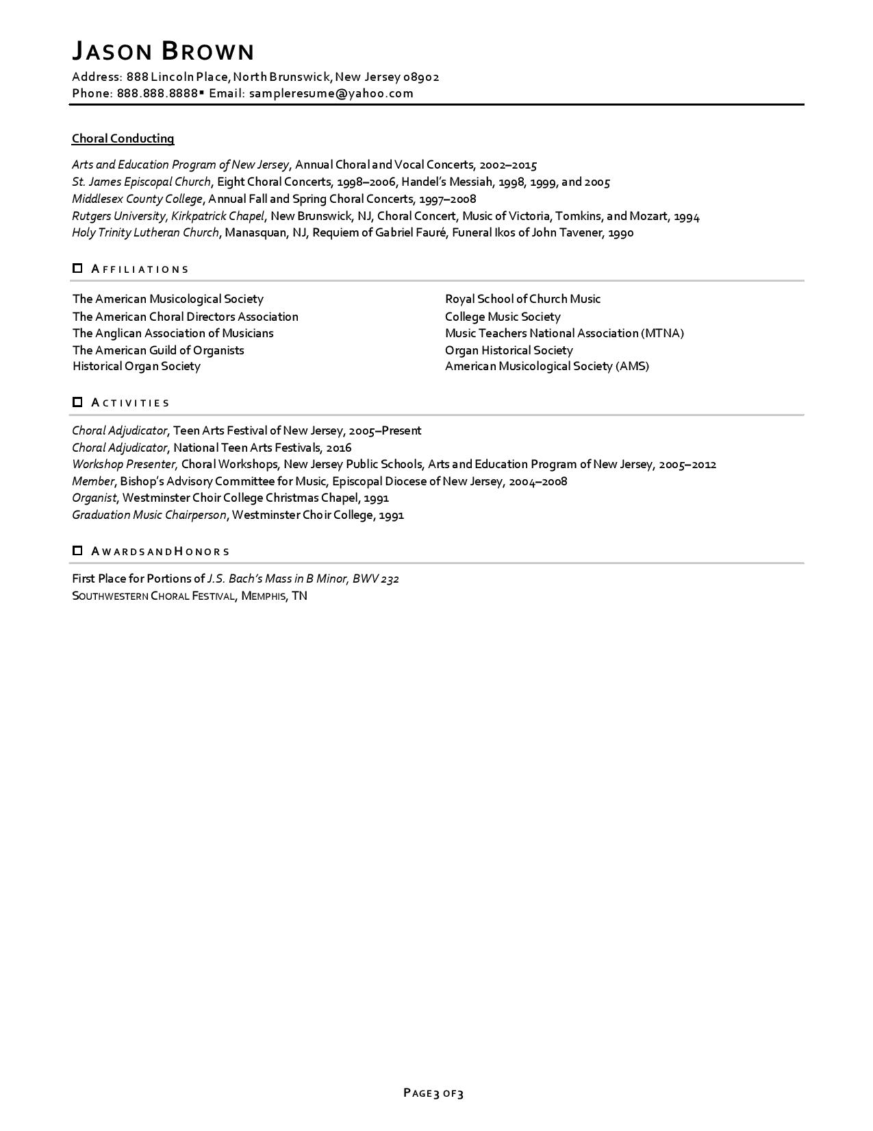 one of faculty resume examples showing professional experience with light accents page 3