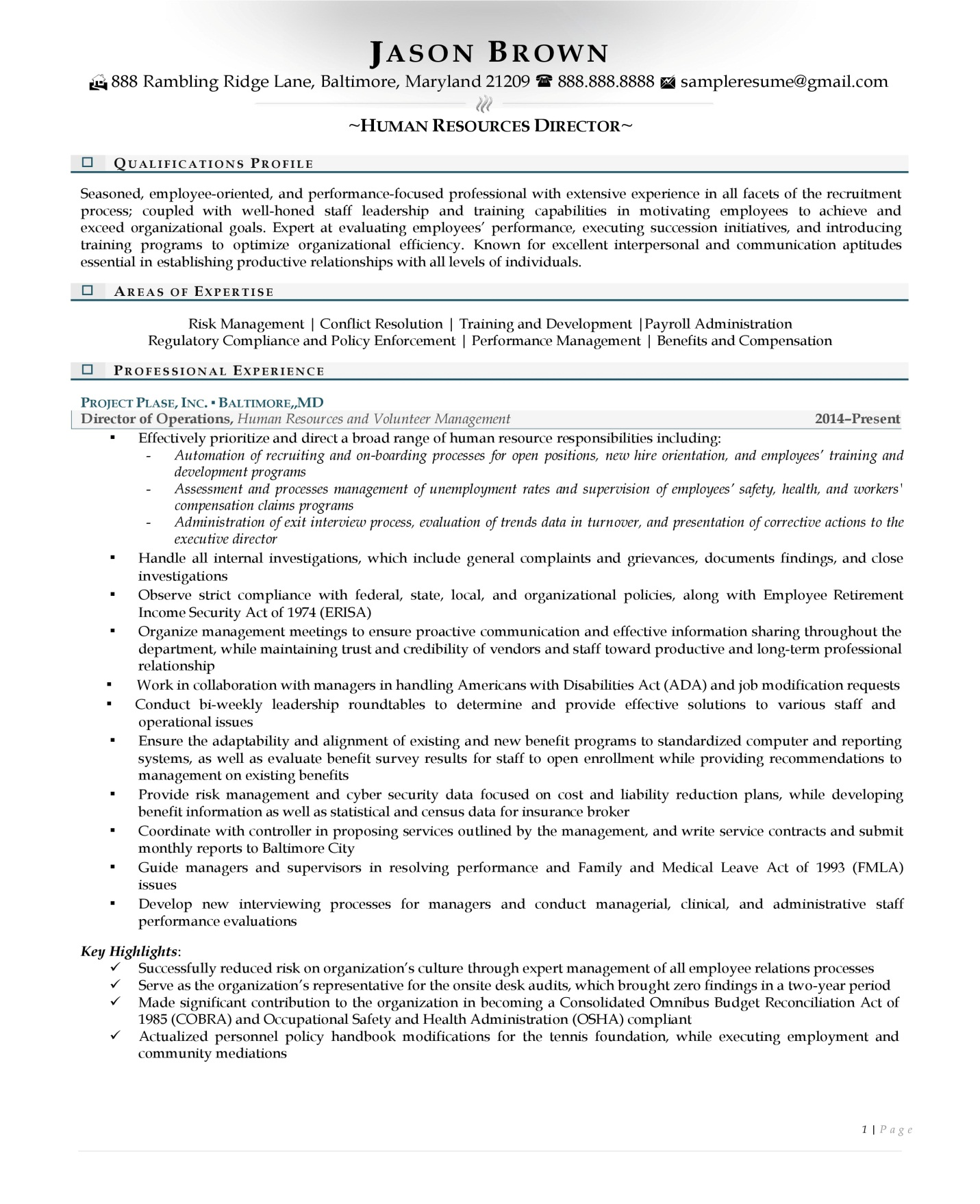 Human resource director resume examples with light colored accents page 1