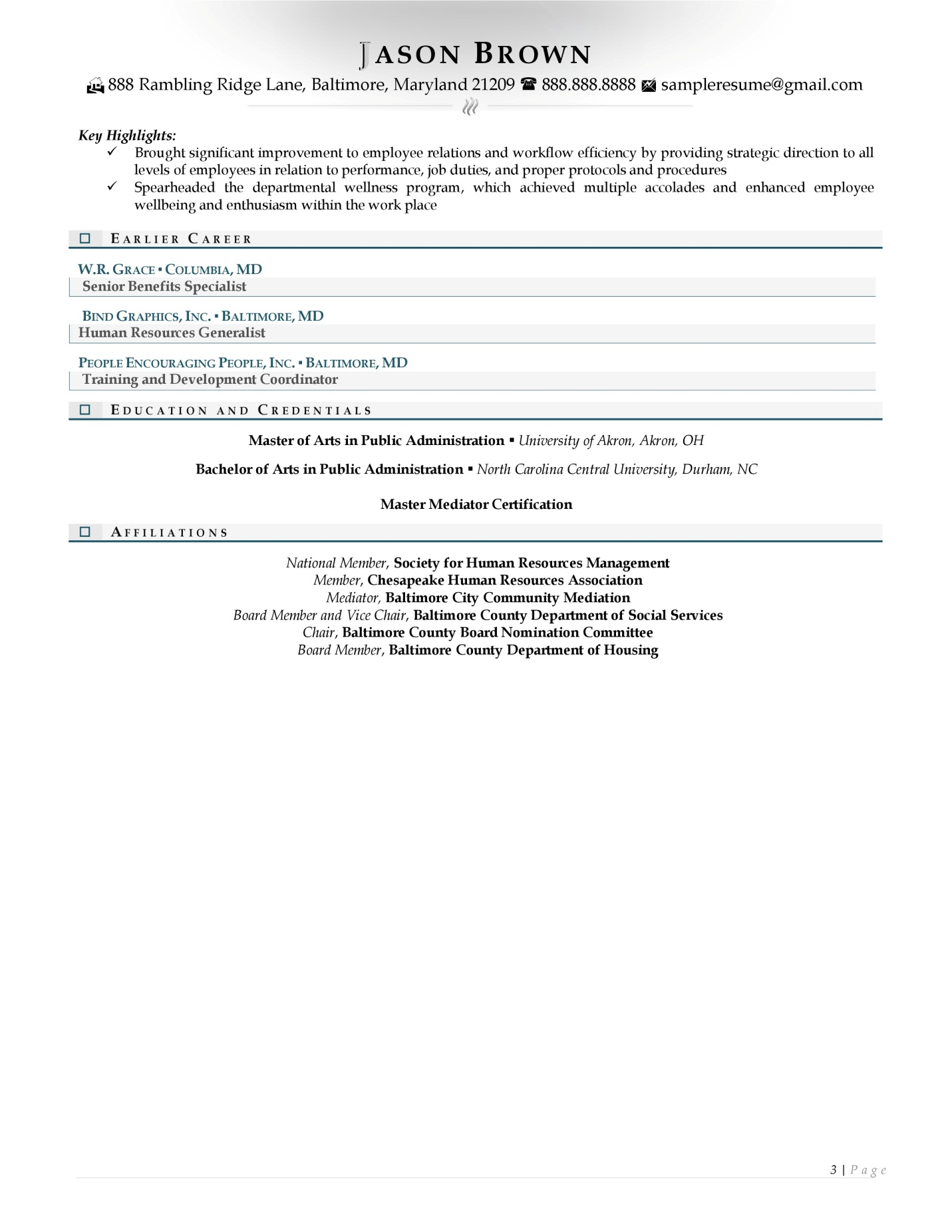 human resource director resume examples with light colored accents page 3