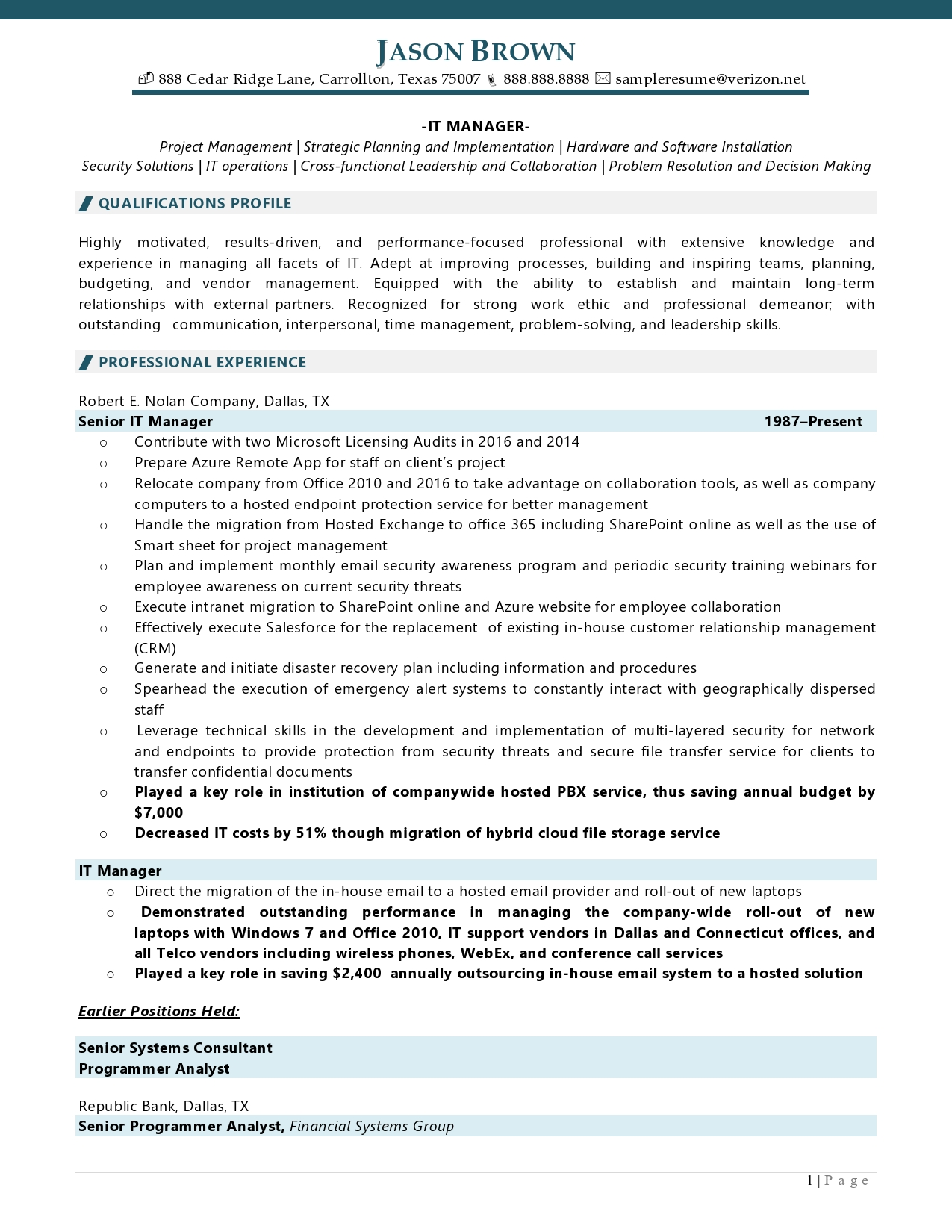 IT manager resume examples: resume sample page 1