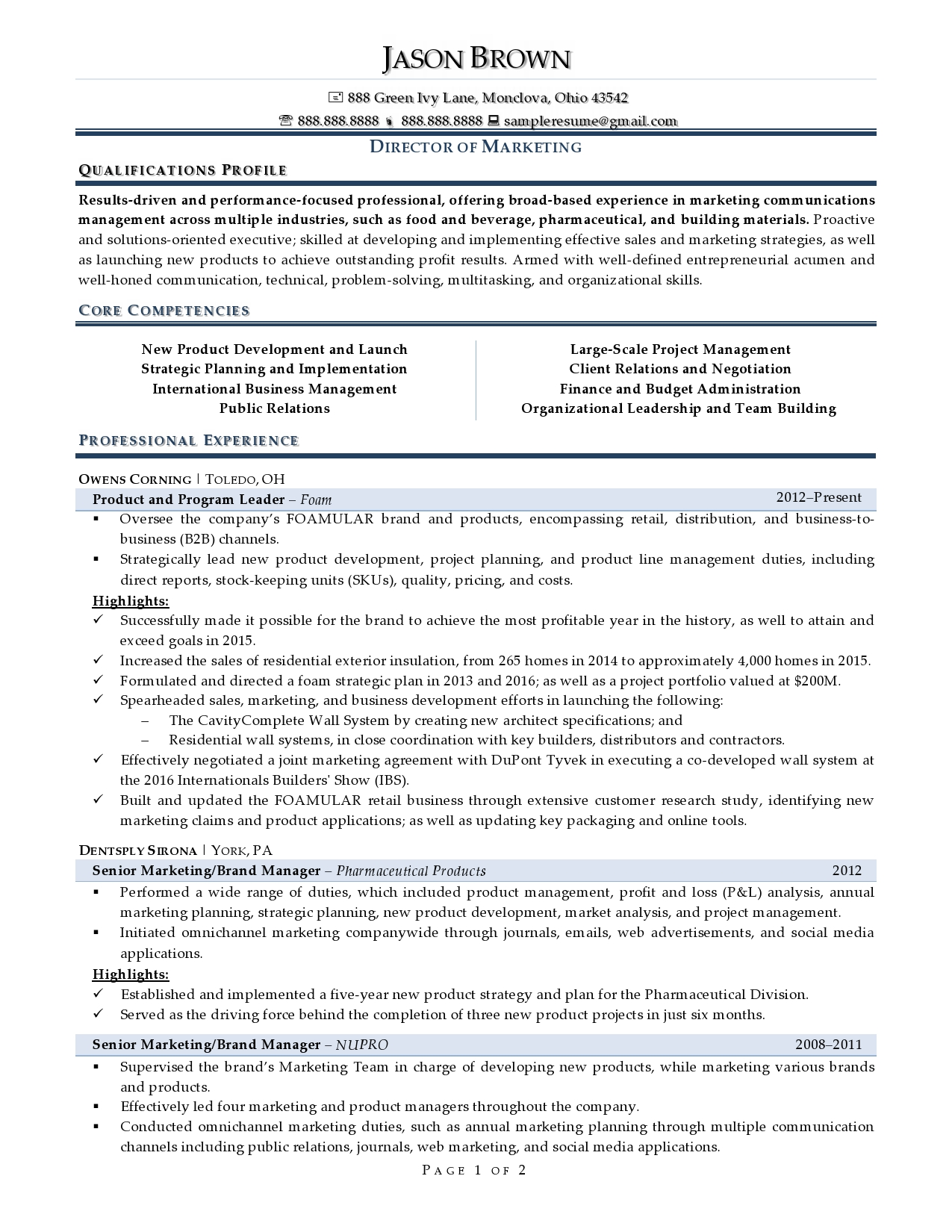First Page Marketing Director Resume Examples for Applicants