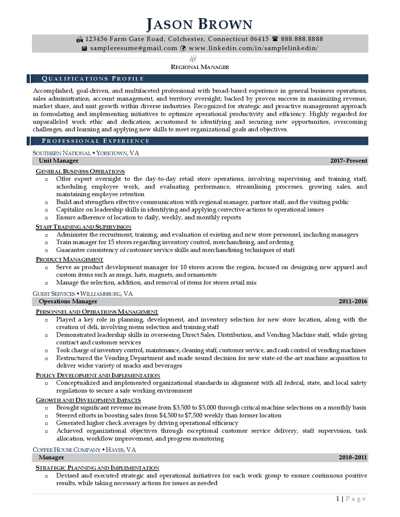 Regional manager resume examples with light color accents page 1