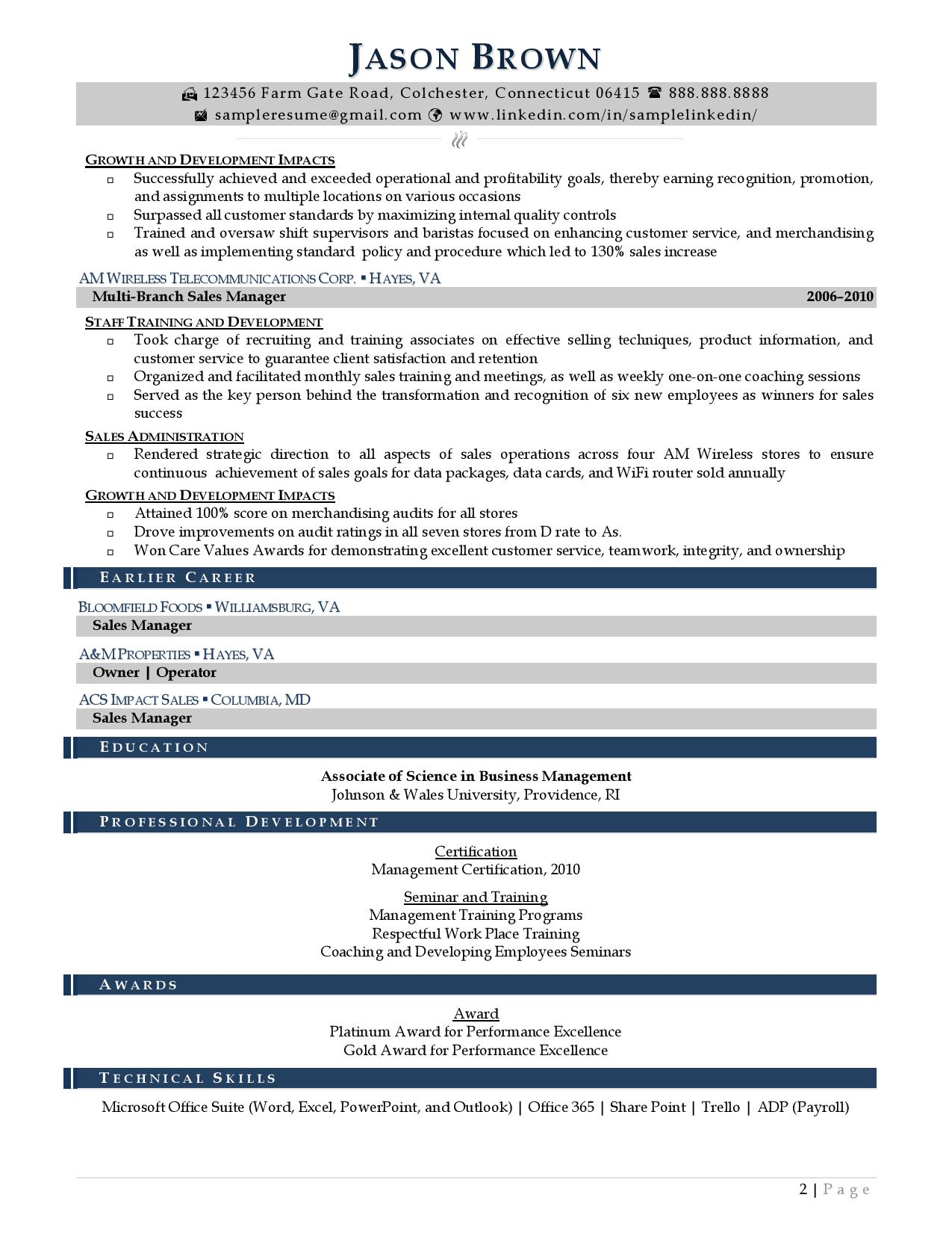 Regional manager resume examples with light color accents page 2
