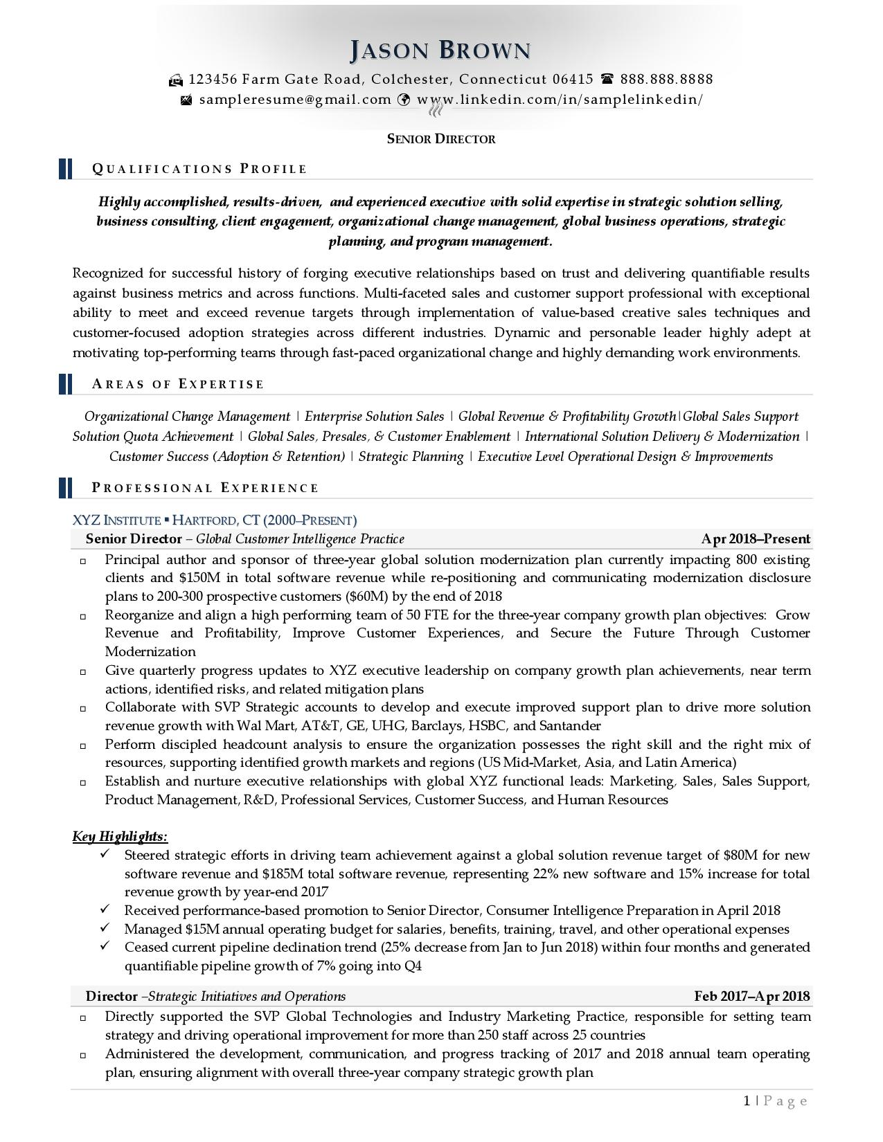 Senior director resume examples with light color accents page 1