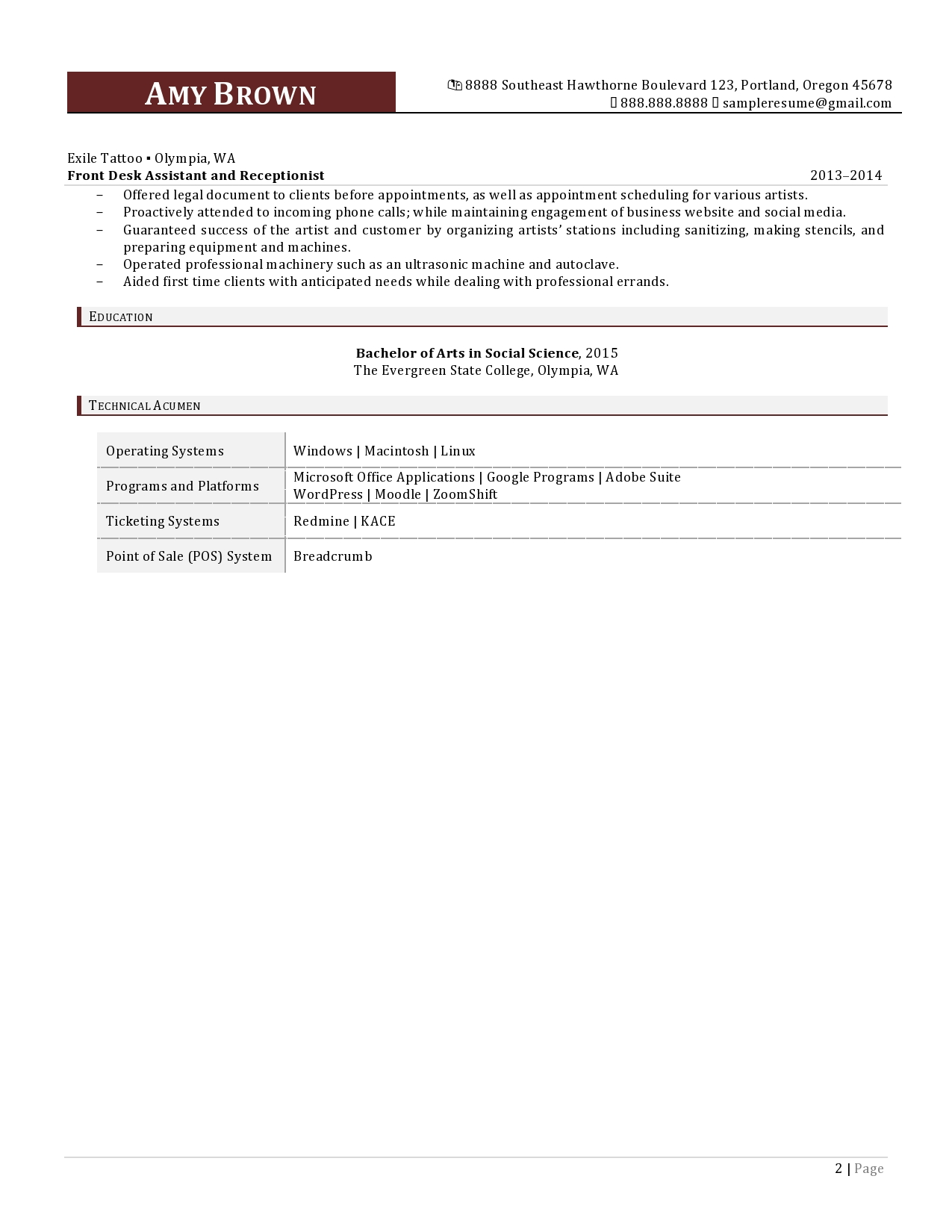 Administrative Assistant Resume Sample page 2