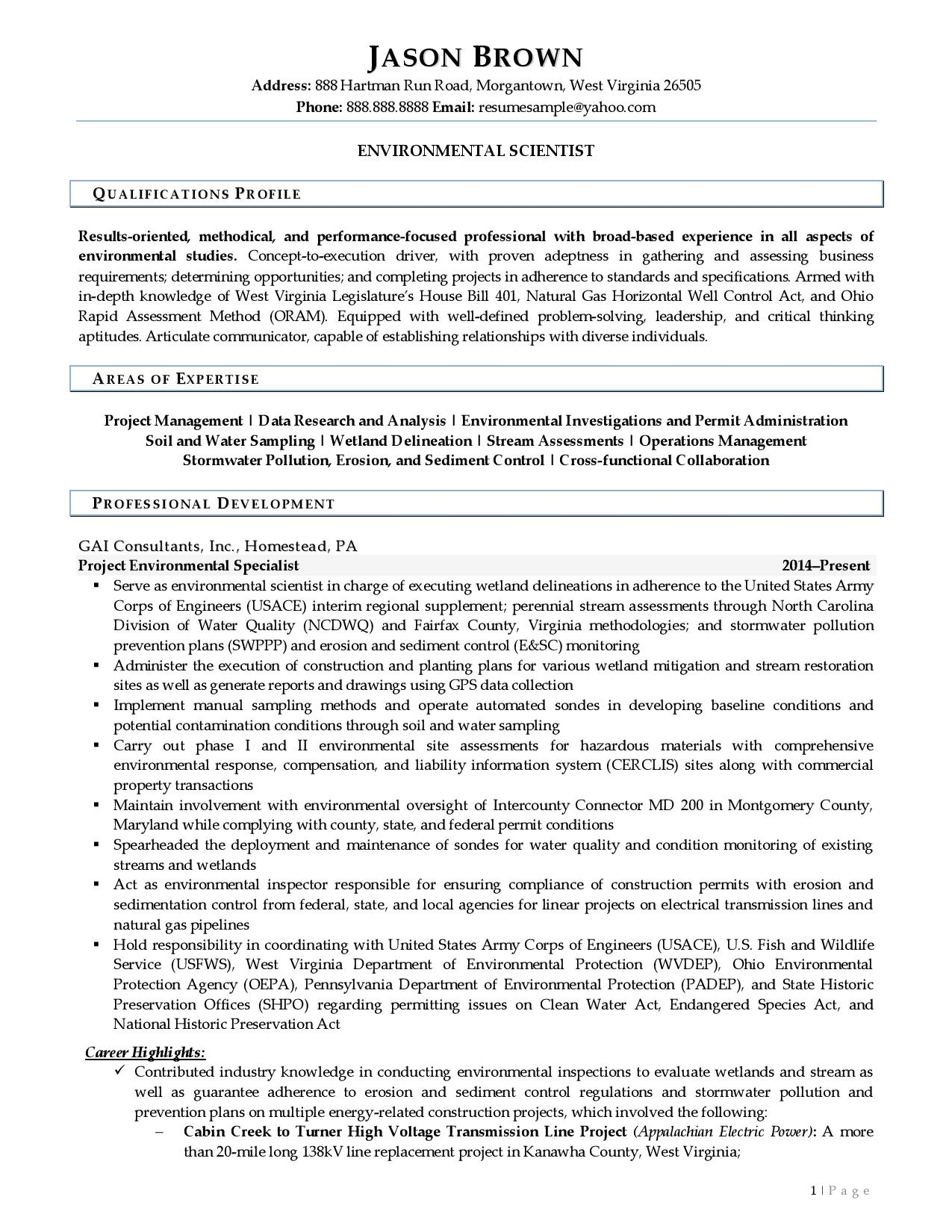 Page 1 of a sample from our environmental scientist resume examples