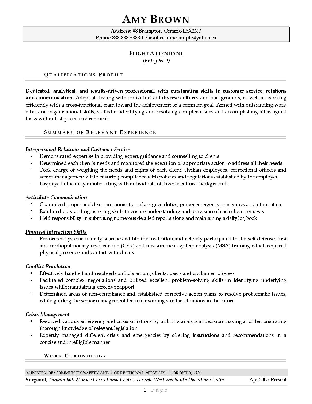 Page 1 of a sample from our flight attendant resume examples