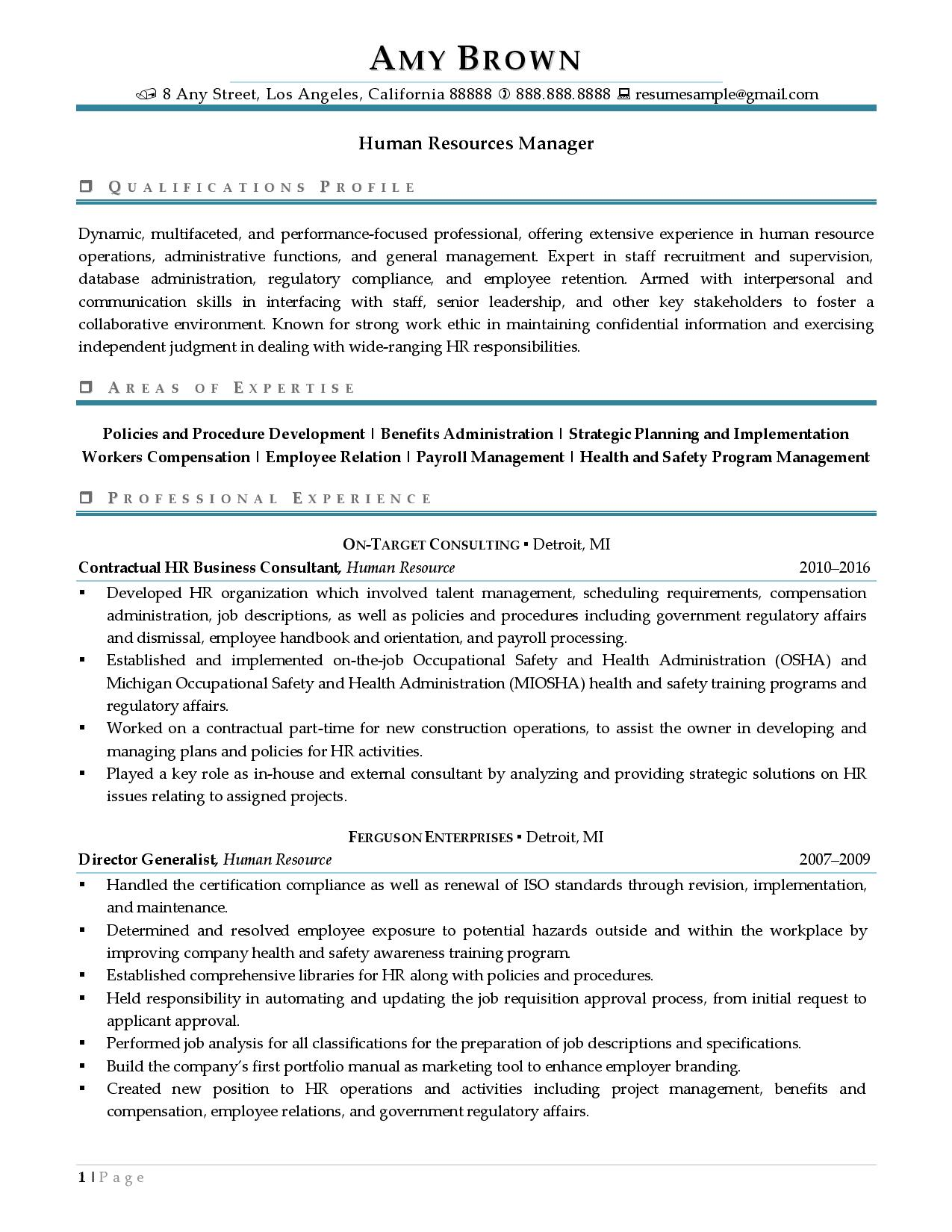 Optimized Human Resources Manager Resume Examples page 1