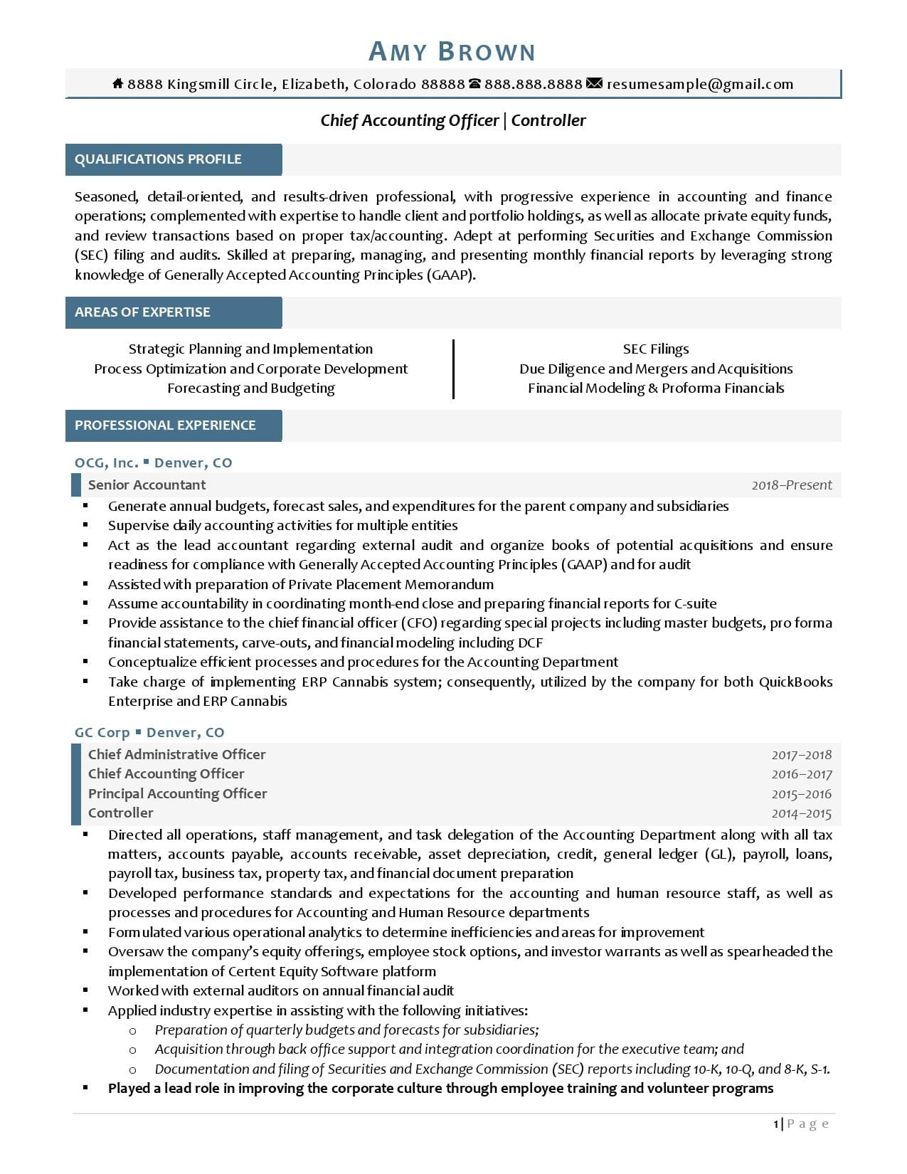 Page 1 of chief accounting officer resume examples