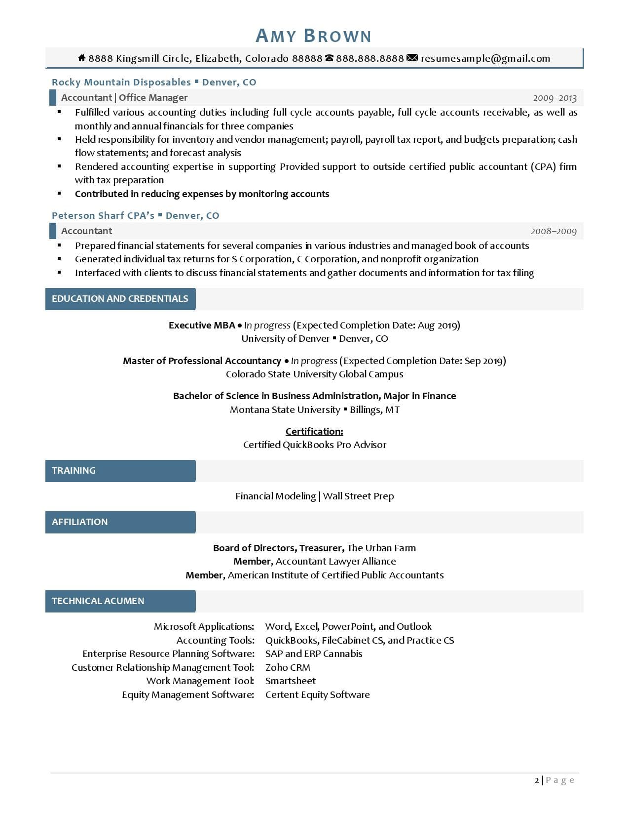 Page 2 of chief accounting officer resume examples