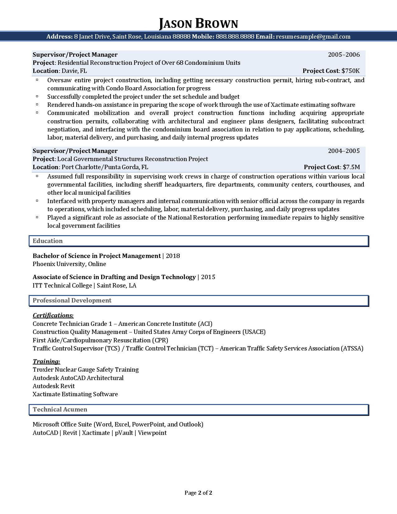 Page 2 of a sample from our civil engineer resume examples