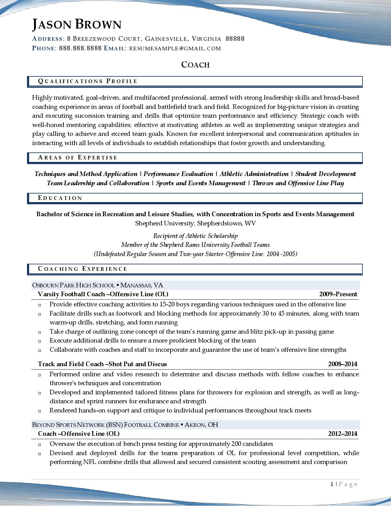 Page 1 of a sample from our coach resume examples