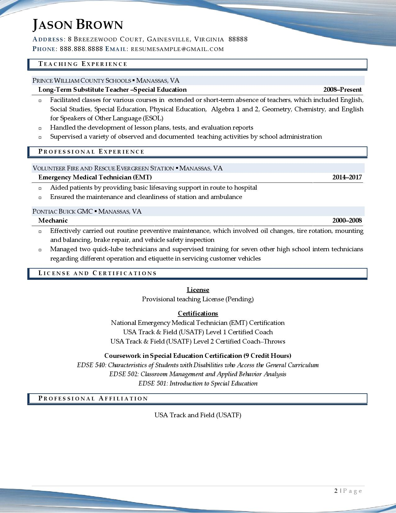 Page 2 of a sample from our coach resume examples