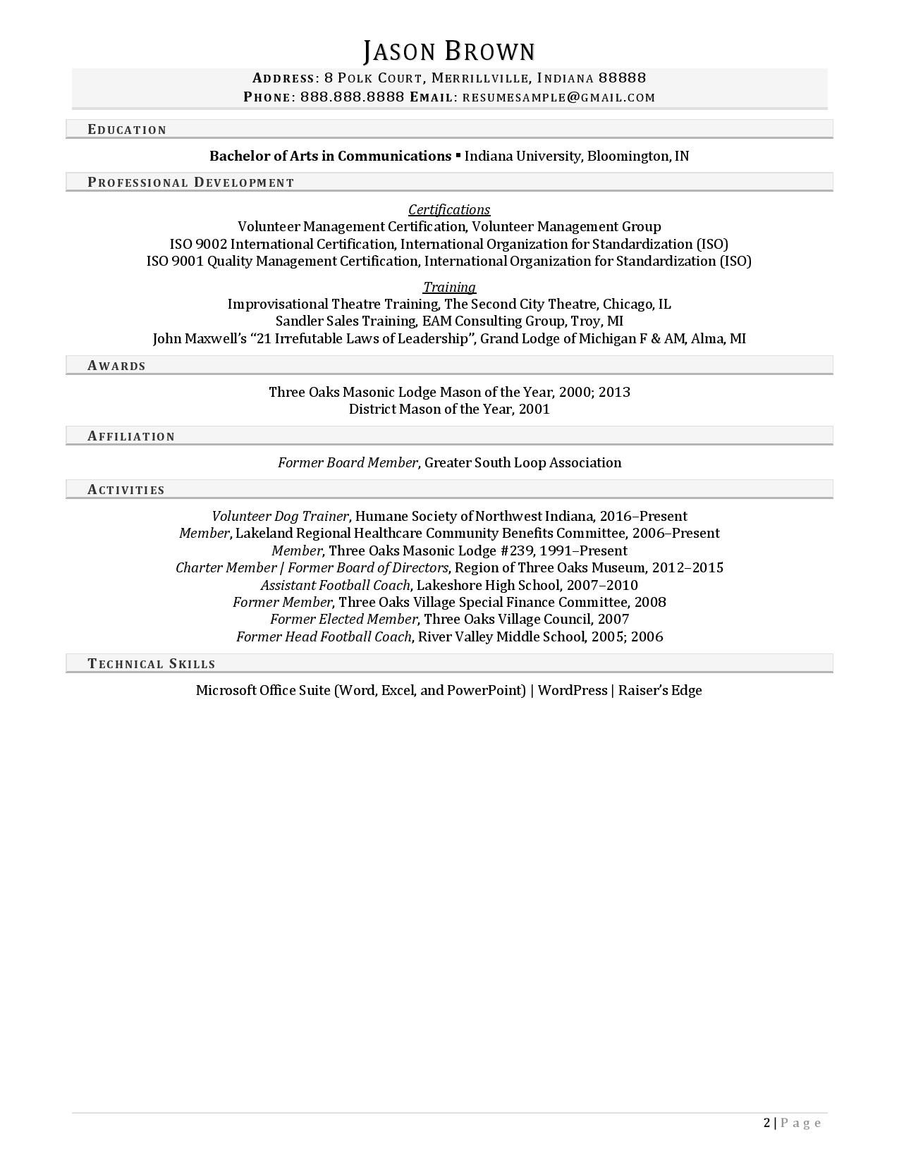 Community outreach coordinator resume examples with light gray section headers page 2
