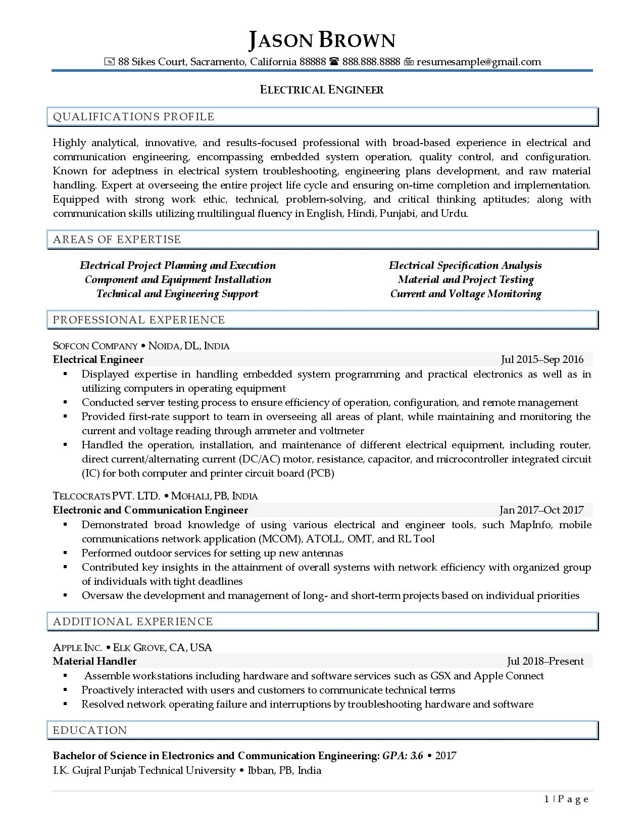 Optimized electrical engineer resume examples page 1