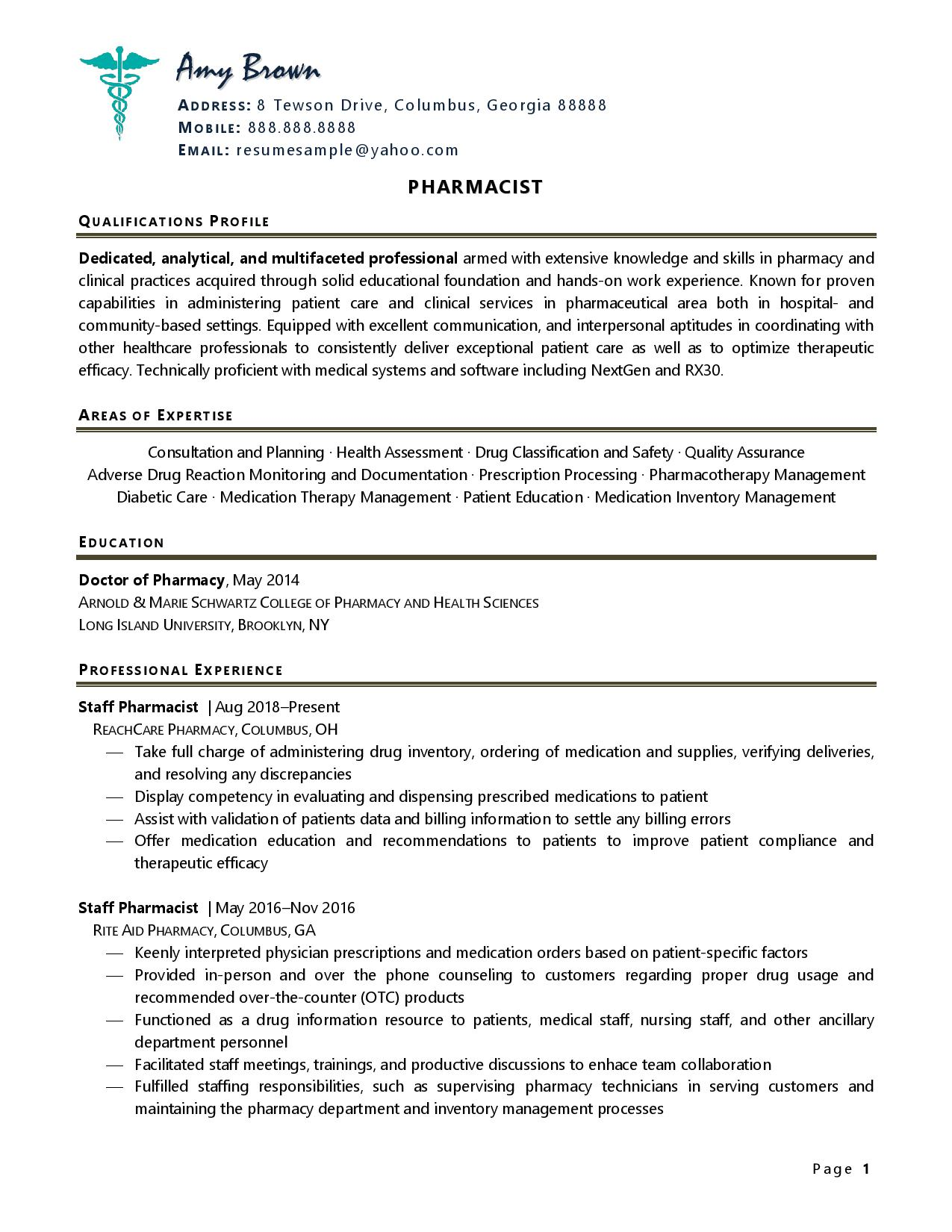 Page one of one of pharmacist resume examples