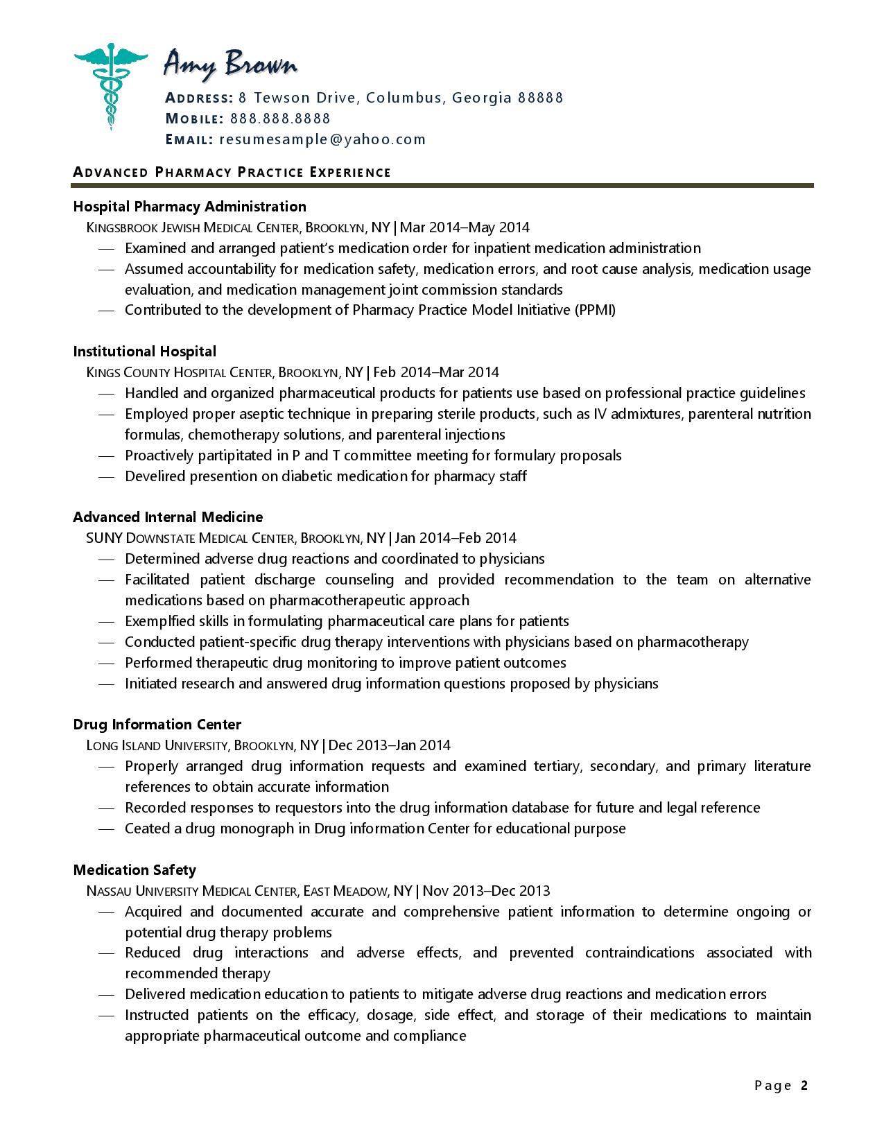 Page two of one of pharmacist resume examples