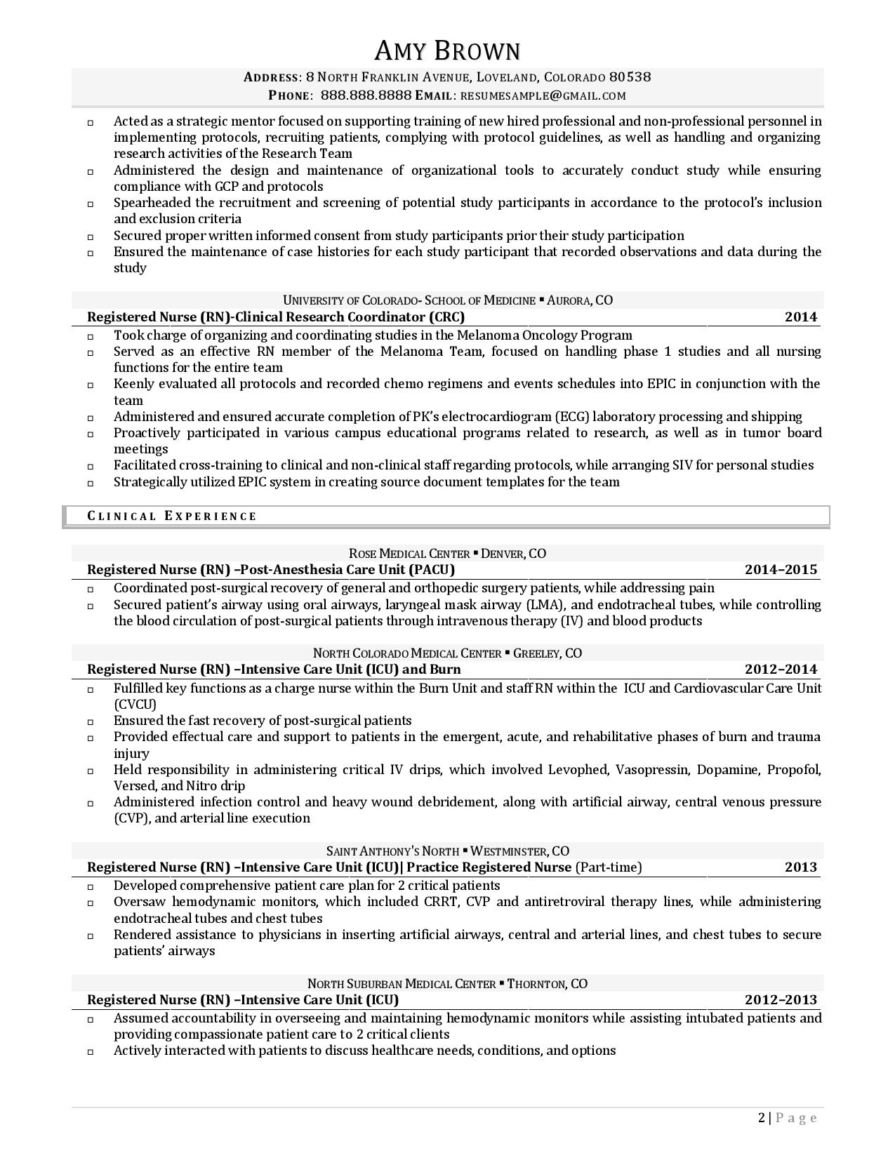 Page two of a sample resume from our list of research intern resume examples