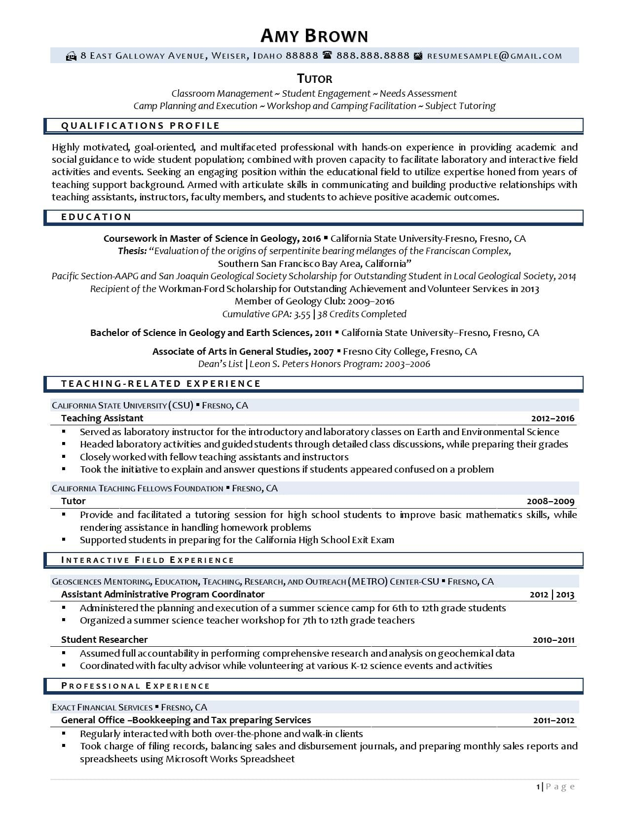 A tutor resume sample with tutoring experience description page 1