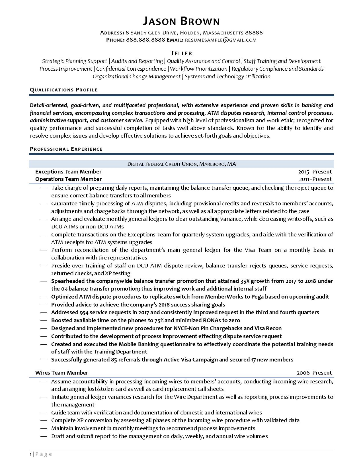 A teller resume sample with bank teller job description for resume page 1