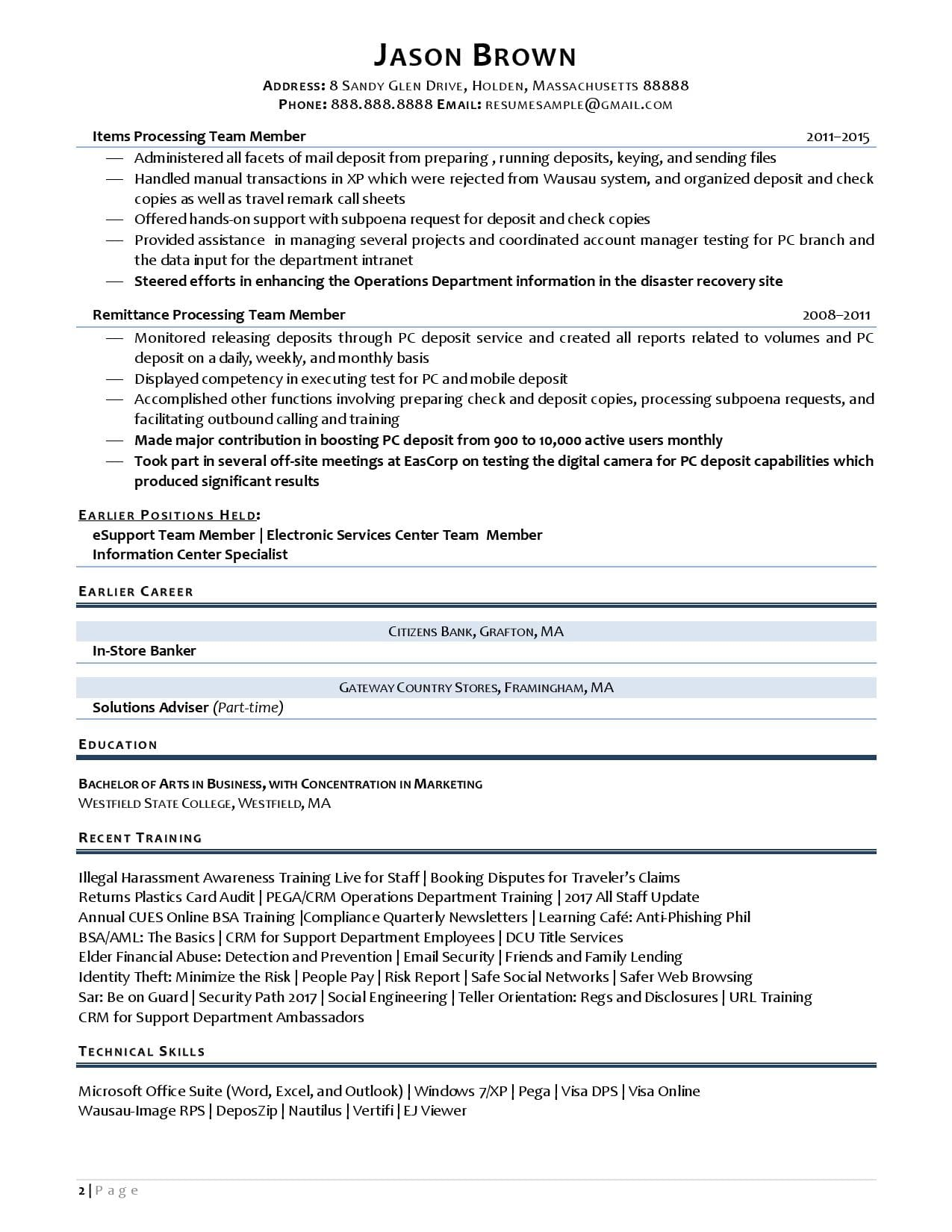 A teller resume sample with key skills banking resume page 2